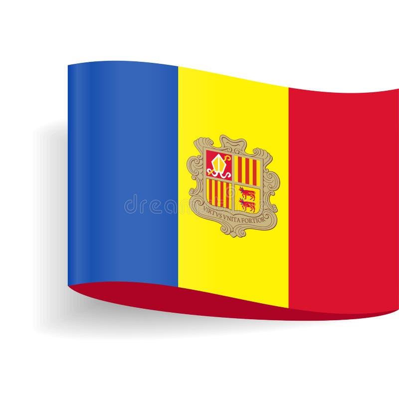 Van het de Vlag Vectoretiket van Andorra de Markeringspictogram vector illustratie