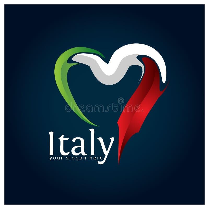 Van het de vlaghart van Italië de voorraadvector Vectorillustratie op blauwe gradiëntachtergrond royalty-vrije illustratie