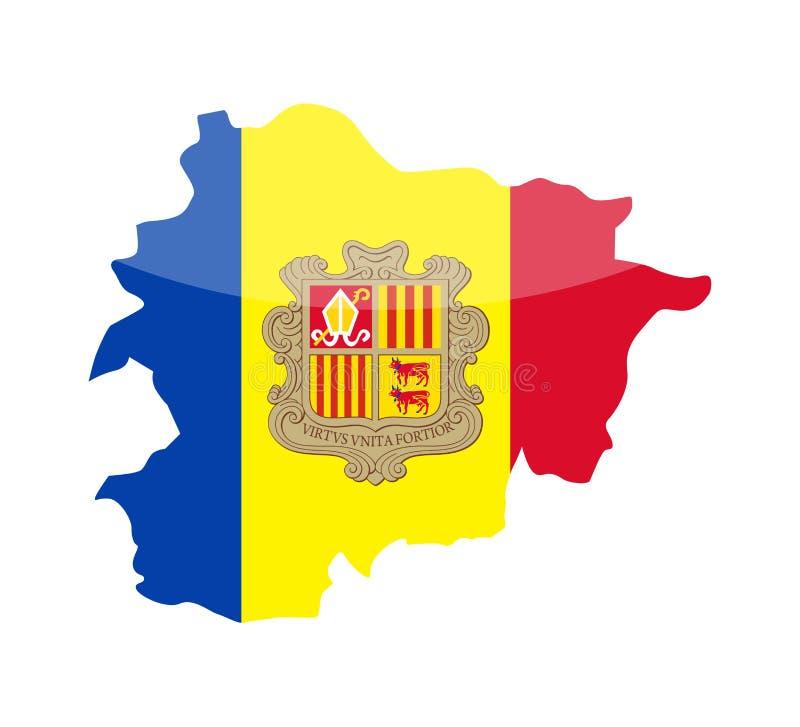 Van het de Vlagland van Andorra de Contour Vectorpictogram vector illustratie