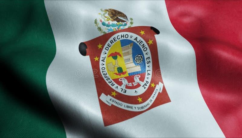 Van het de Vlagland van de Oaxacastad de Close-upweergeven van Mexico het 3D Teruggeven royalty-vrije illustratie