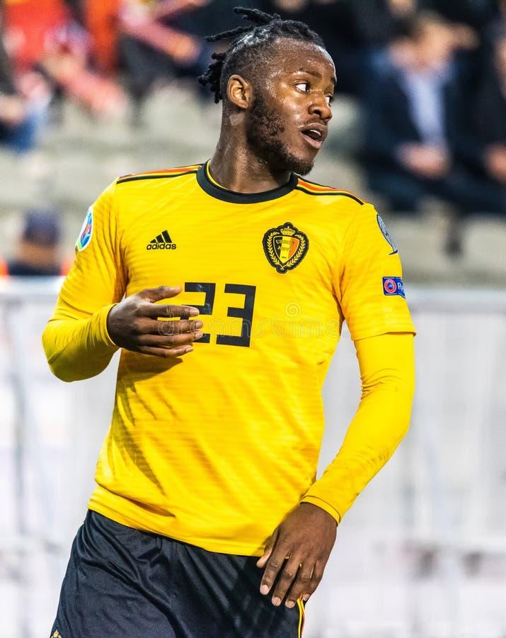 Van het de voetbalteam van België de nationale striker Michy Batshuayi stock afbeelding