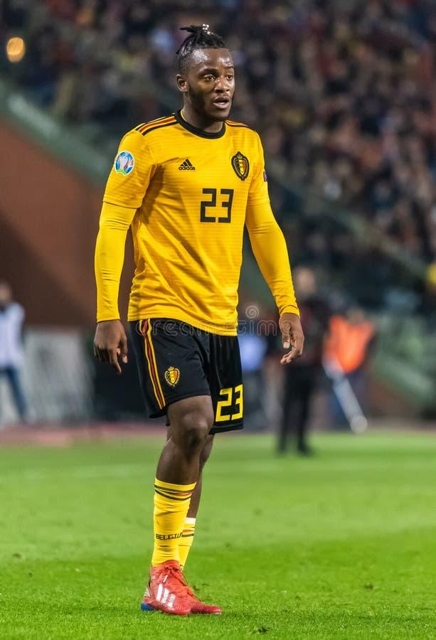 Van het de voetbalteam van België de nationale striker Michy Batshuayi stock foto's