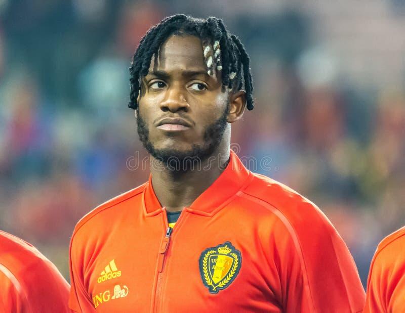 Van het de voetbalteam van Crystal Palace en van Belgi? de nationale striker Michy Batshuayi stock afbeeldingen