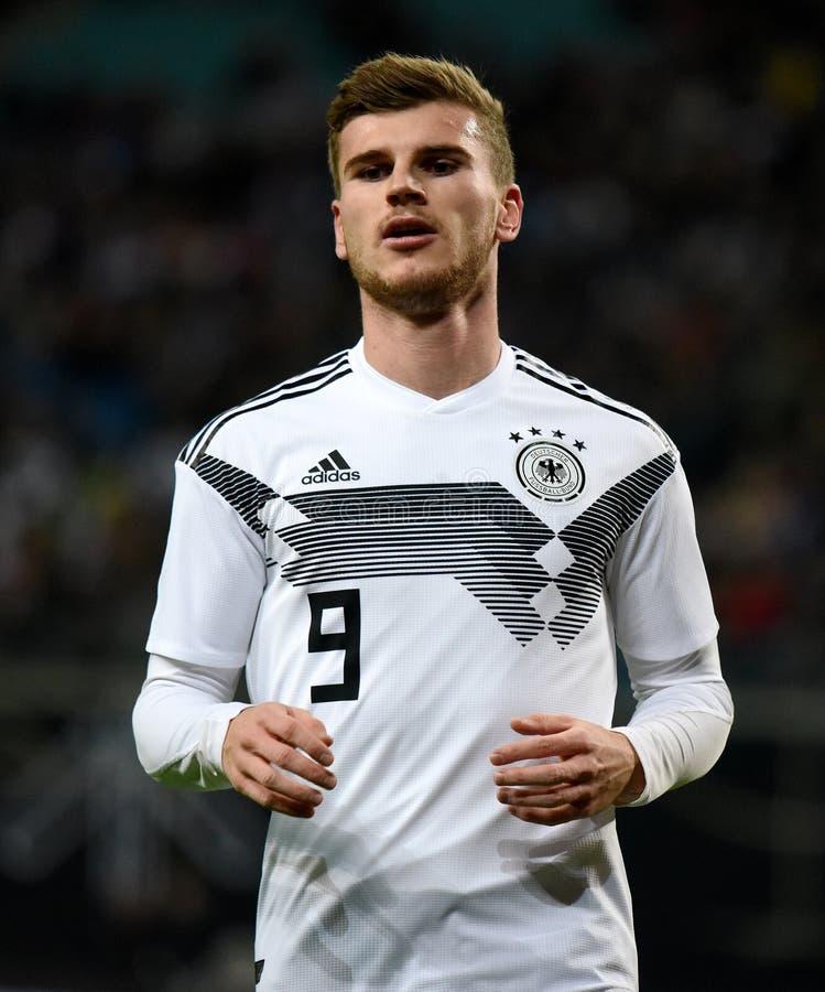 Van het de voetbalteam van Duitsland de nationale striker Timo Werner royalty-vrije stock foto's