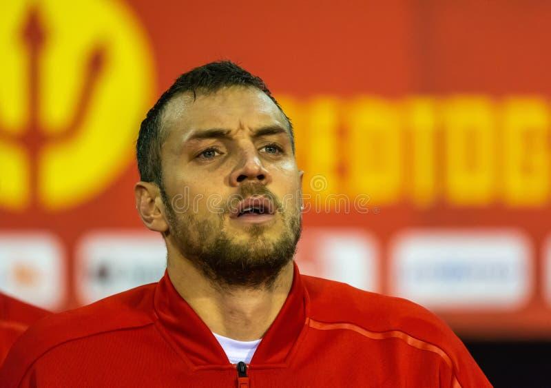 Van het de voetbalteam van Rusland de nationale striker Artem Dzyuba royalty-vrije stock foto