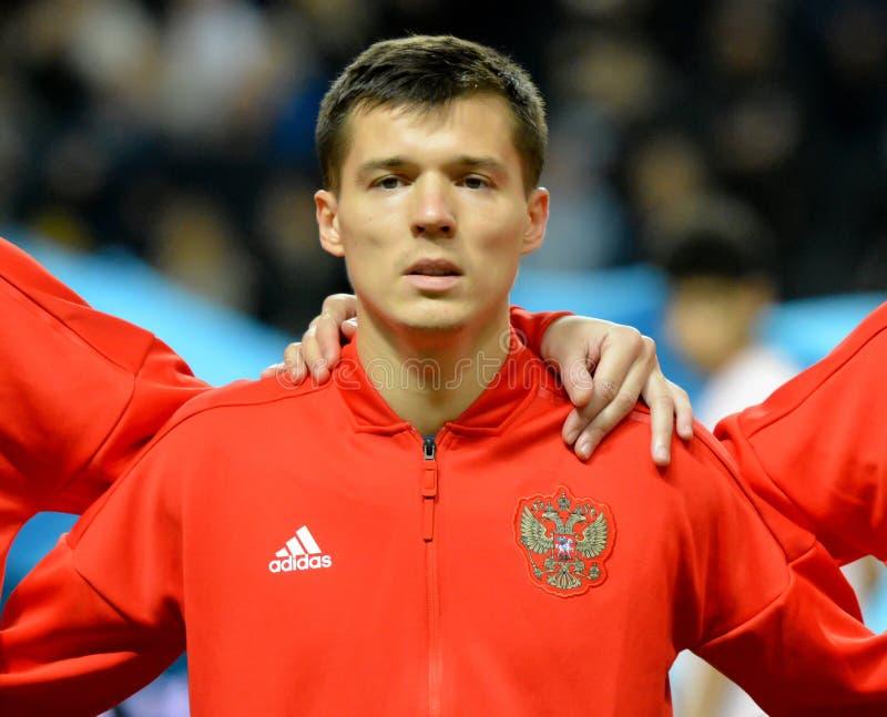 Van het de voetbalteam van Rusland de nationale striker Dmitry Poloz royalty-vrije stock afbeeldingen