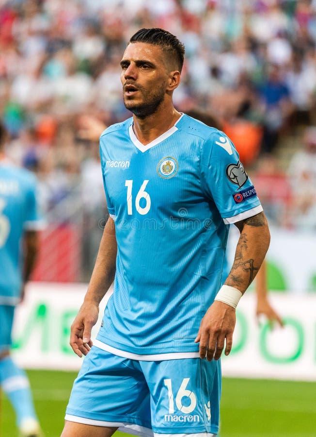 Van het de voetbalteam van San Marino de nationale striker Danilo Rinaldi royalty-vrije stock afbeelding