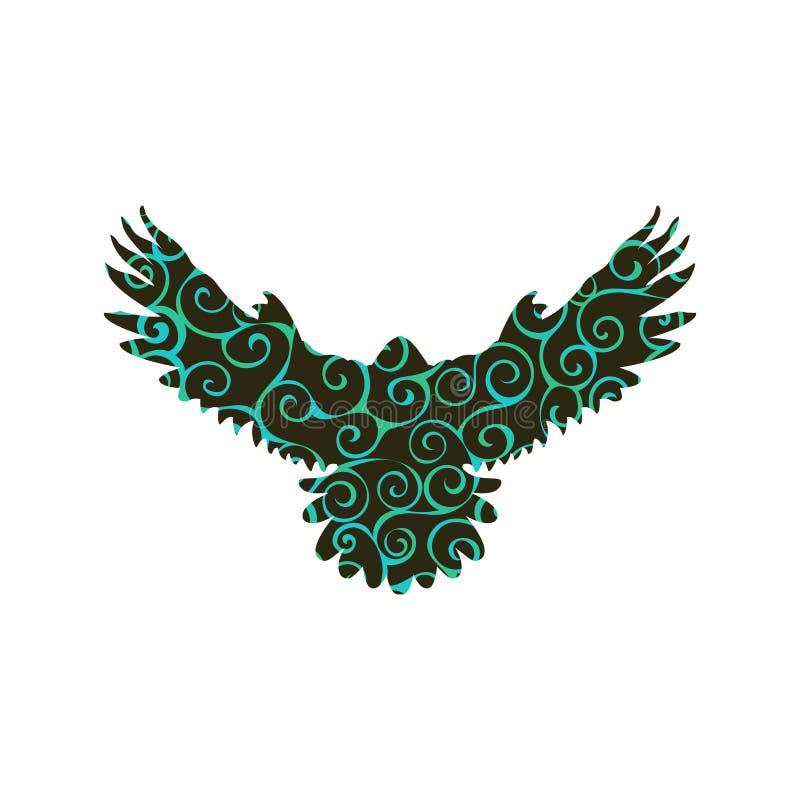 Van het de vogel het spiraalvormige patroon van de valkhavik dier van het de kleurensilhouet royalty-vrije illustratie