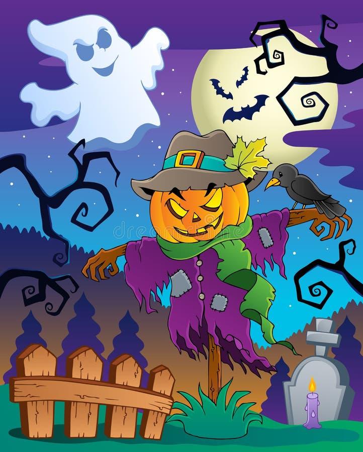 Van het de vogelverschrikkerthema van Halloween beeld 2 royalty-vrije illustratie