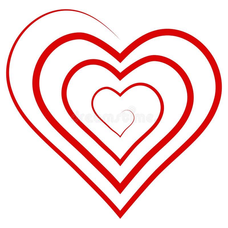 Van het de vorm gaf het spiraalvormige hart van het embleemoverzicht vectorsymbool van oneindig liefdehart spiraal gestalte stock illustratie