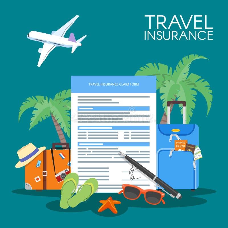 Van het de vormconcept van de reisverzekering de vectorillustratie Vakantieachtergrond, bagage, vliegtuig, palmen vector illustratie