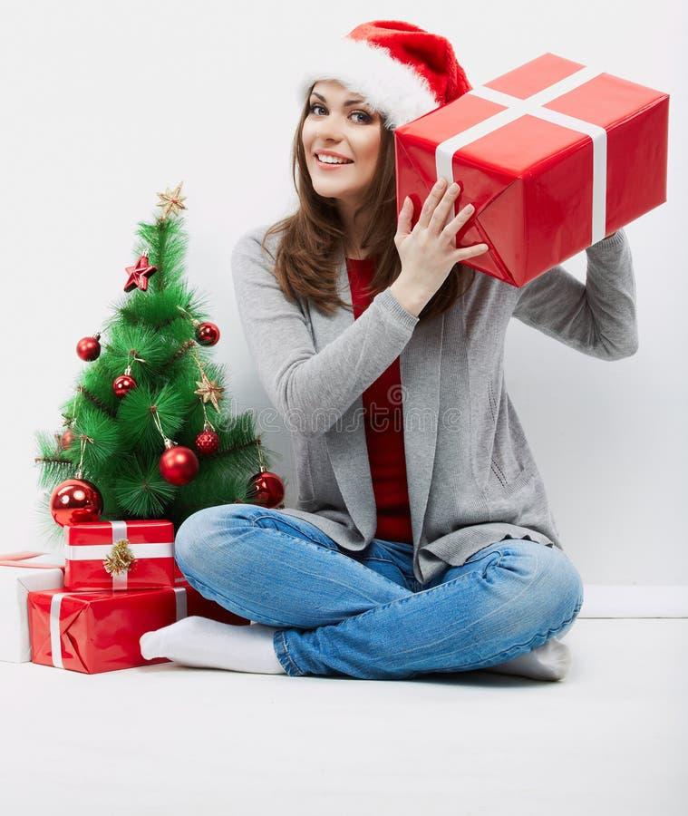Van het de vrouwenportret van de Kerstman van Kerstmis de hoed geïsoleerdeo gift van de greepKerstmis royalty-vrije stock foto's