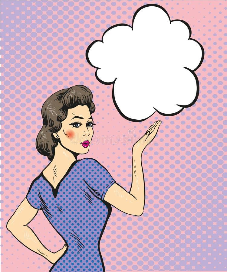 Van het de vrouwenpunt van de pop-art retro stijl de handteken met toespraakbel Grappige ontwerp vectorillustratie stock illustratie