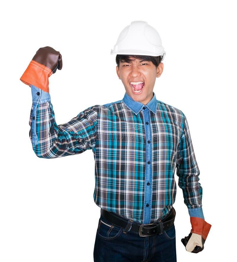 Van het de vuistsymbool van de techniekhand het blauw van het de slijtageoverhemd en handschoenleer hoofdhelmplastiek op witte ac royalty-vrije stock foto