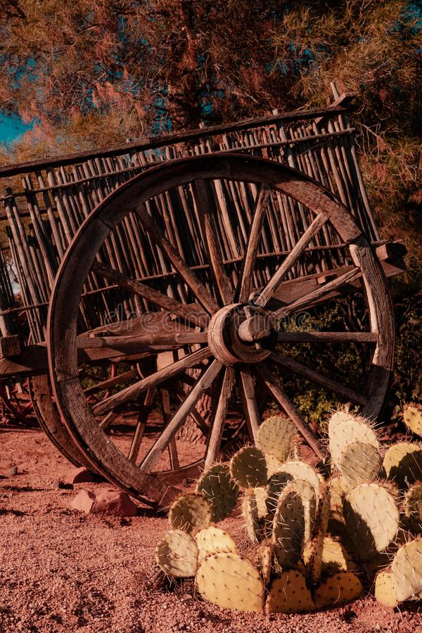 Van het de Wagenwiel van Wilde Westennen de caravan retro wijnoogst stock afbeelding