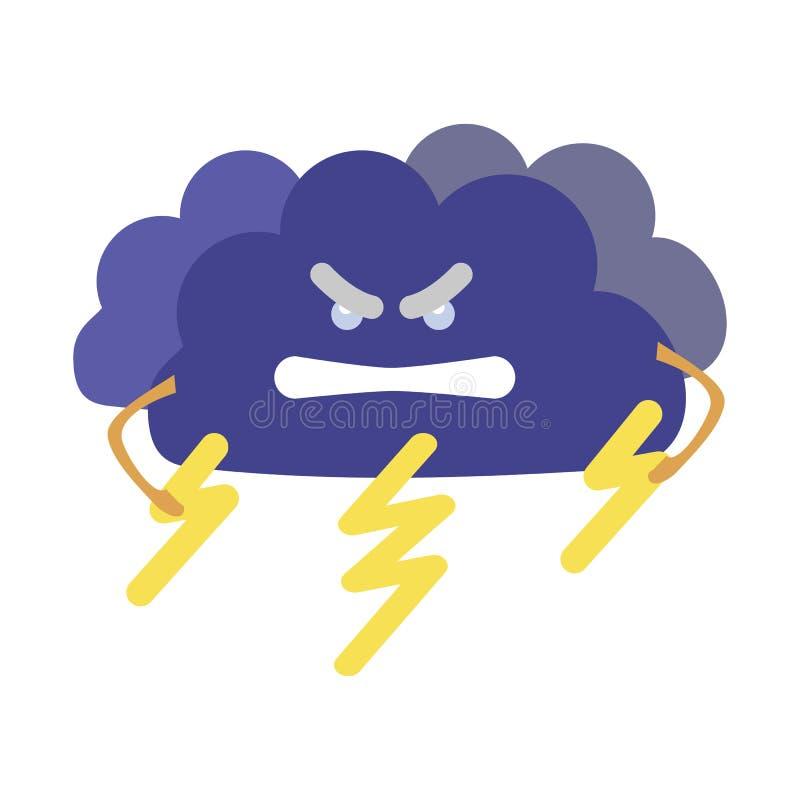 Van het de Weervoorspellingsteken van het beeldverhaalkarakter de Dreigende wolk met Bliksem Vector stock illustratie