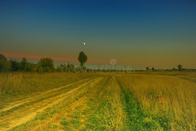 Van het de wegland van de avondzomer stad van het graslena de gele in distan stock fotografie