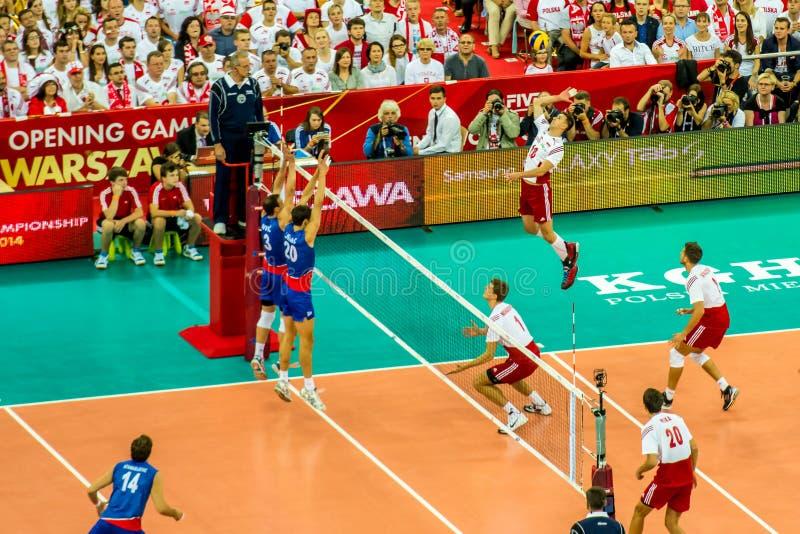 Van het de Wereldkampioenschap van volleyballmensen het openingsspel Polen-Servië, Warshau, 30 Augustus 2014 royalty-vrije stock afbeelding