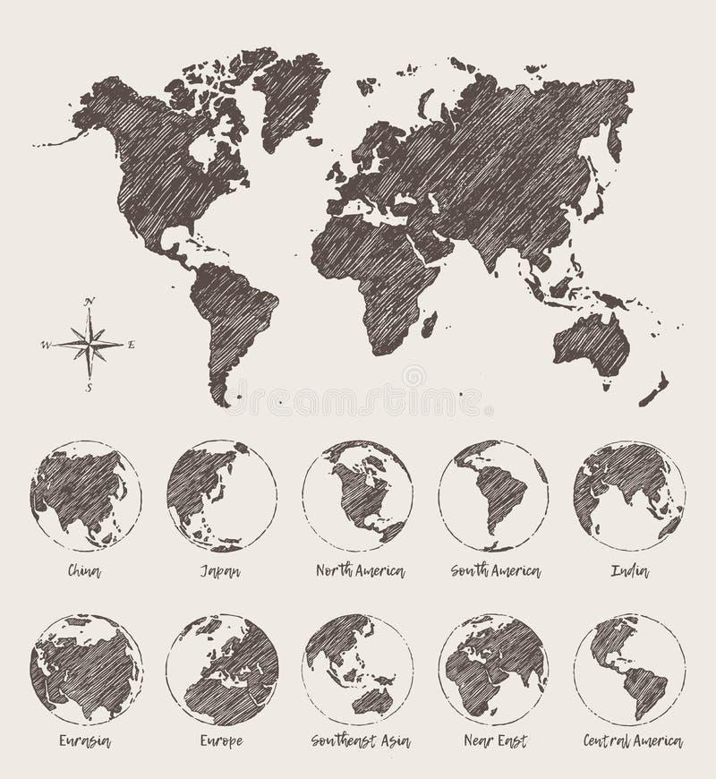 Van het de wereldland van de schetsenkaart de bol Vectorillustratie stock illustratie