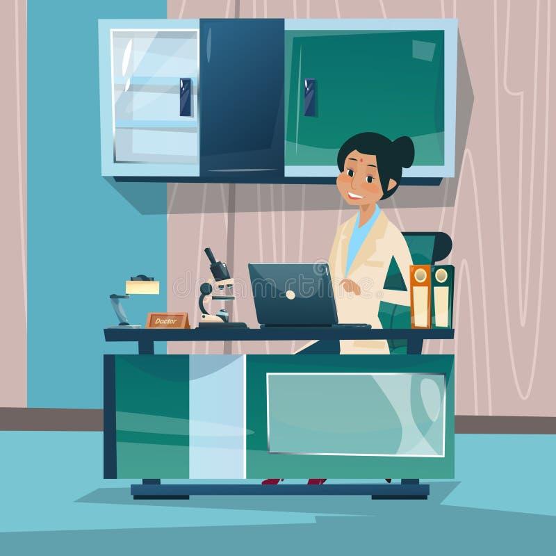 Van het de Werkplaatsziekenhuis van artsenwoman office clinic Binnenlandse de Geneeskundezorg royalty-vrije illustratie