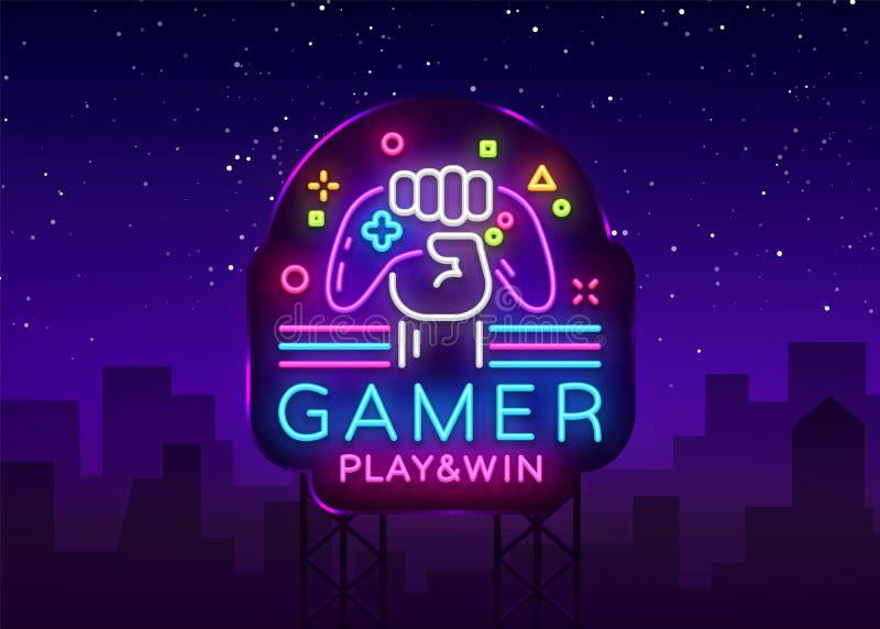 Van het de Winstembleem van het Gamerspel van het het neonteken malplaatje van het het embleemontwerp het Vector Het embleem van  royalty-vrije illustratie