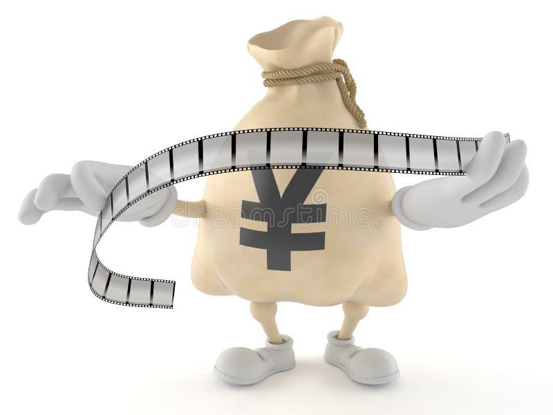Van het de zakkarakter van het Yengeld de strook van de de holdingsfilm royalty-vrije illustratie