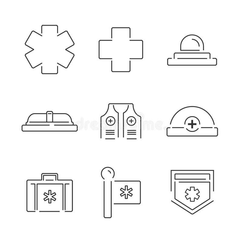 Van het de Ziekenwagenmateriaal van lijnpictogrammen de Medische vastgestelde pictogrammen stock illustratie