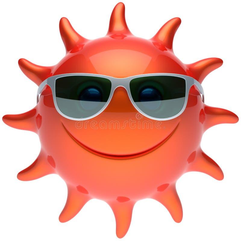 Van het de zongezicht van de zomersmiley van de de zonnebril vrolijke glimlach het beeldverhaalster stock illustratie