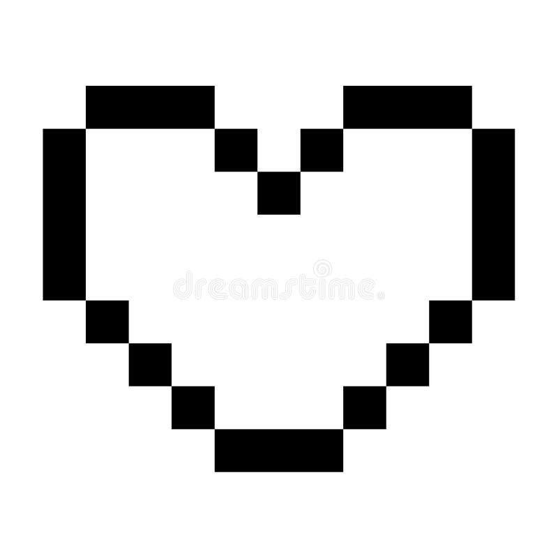 Van het de Zorgpictogram van het liefdehart het Pixel Art Style Black stock illustratie