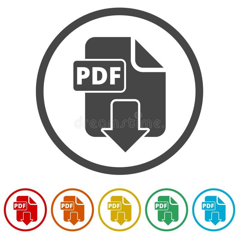 Van het het documentdossier van PDF digitaal het formaat vlak vectorpictogram, Vectorpdf-downloadsymbool, 6 Inbegrepen Kleuren royalty-vrije illustratie