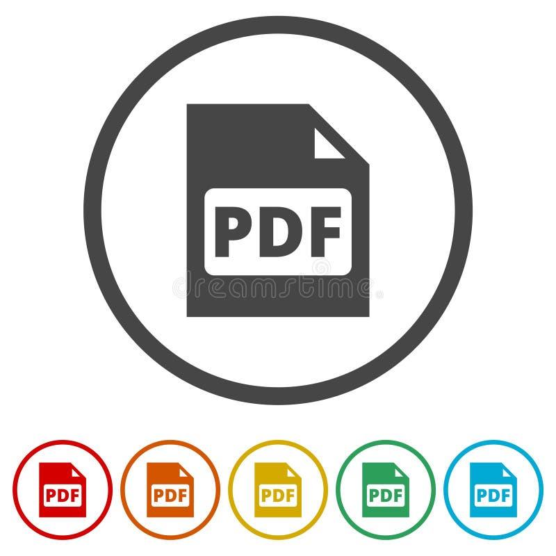 Van het het documentdossier van PDF digitaal het formaat vlak vectorpictogram, Vectorpdf-downloadsymbool, 6 Inbegrepen Kleuren vector illustratie