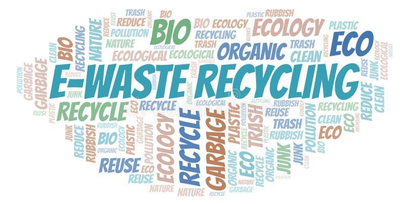 Van het e-afval de wolk Recyclingswoord stock illustratie