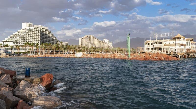 Van het Eilatlagune en Hotel Streek in Israël royalty-vrije stock afbeelding