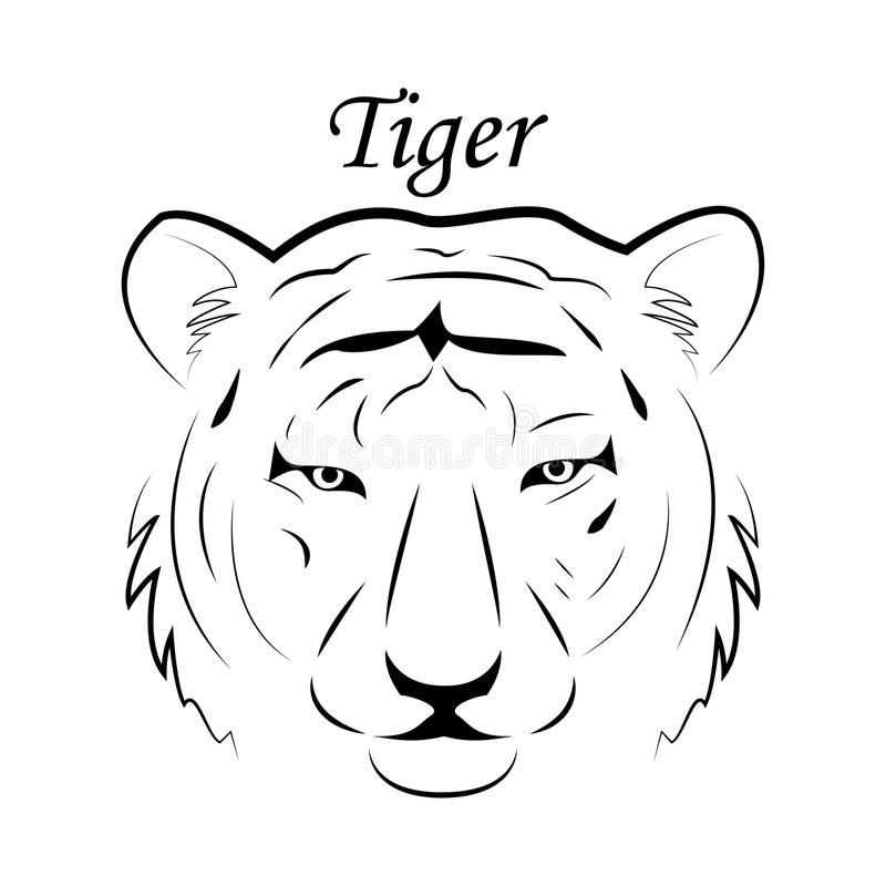 Van het het embleemembleem van het tijgergezicht het symbool van de het malplaatjemascotte voor zaken of overhemdsontwerp Vector  royalty-vrije illustratie