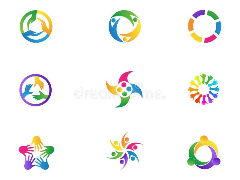 Van het het embleemgroepswerk van zorghanden van de de mensendiversiteit van het de eenheidssymbool vector het pictogram vastgest vector illustratie
