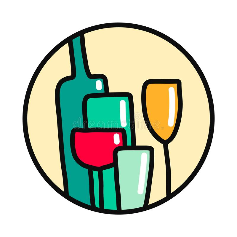 Van het embleemlogotypefor van de flessenglas het kleurrijke hand getrokken illustratie van de alcoholars van de drukkenpromo mer stock illustratie