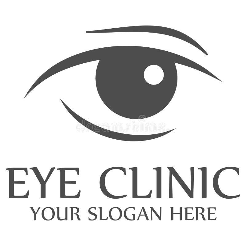 Van het het embleemmalplaatje van de oogkliniek het ontwerp vectorillustratie stock afbeeldingen