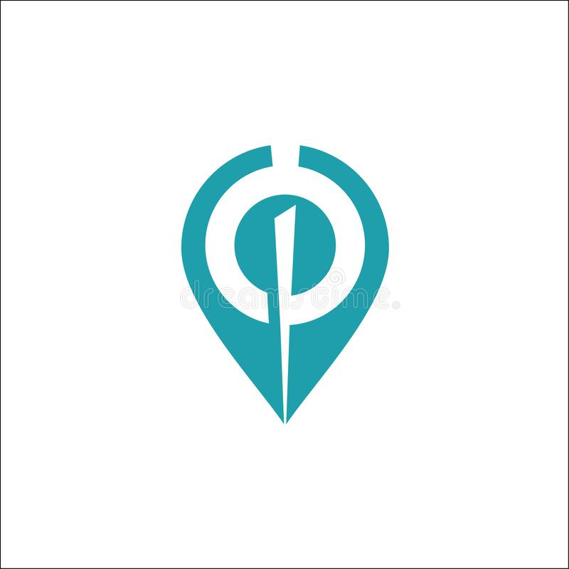 Van het het Embleemmalplaatje van het plaatspunt van de het pictogramillustratie vector het ontwerpvector royalty-vrije illustratie