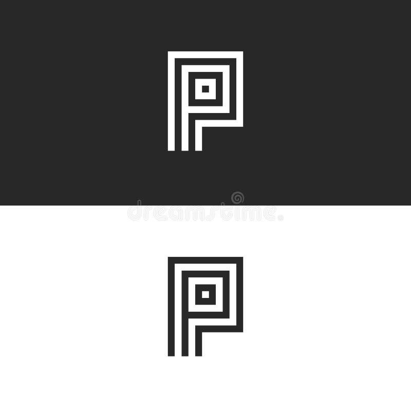 Van het het embleemmonogram van de vormp brief element van het de stijl rechthoekige ontwerp het minimalistische, eenvoudig ident vector illustratie