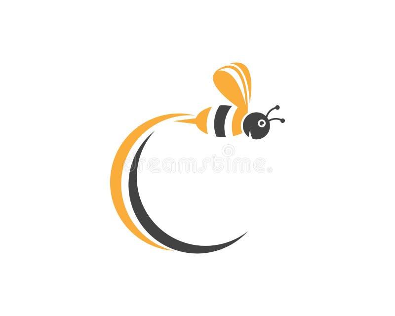 Van het het embleemontwerp van het bijenpictogram de vectorillustratie stock foto's