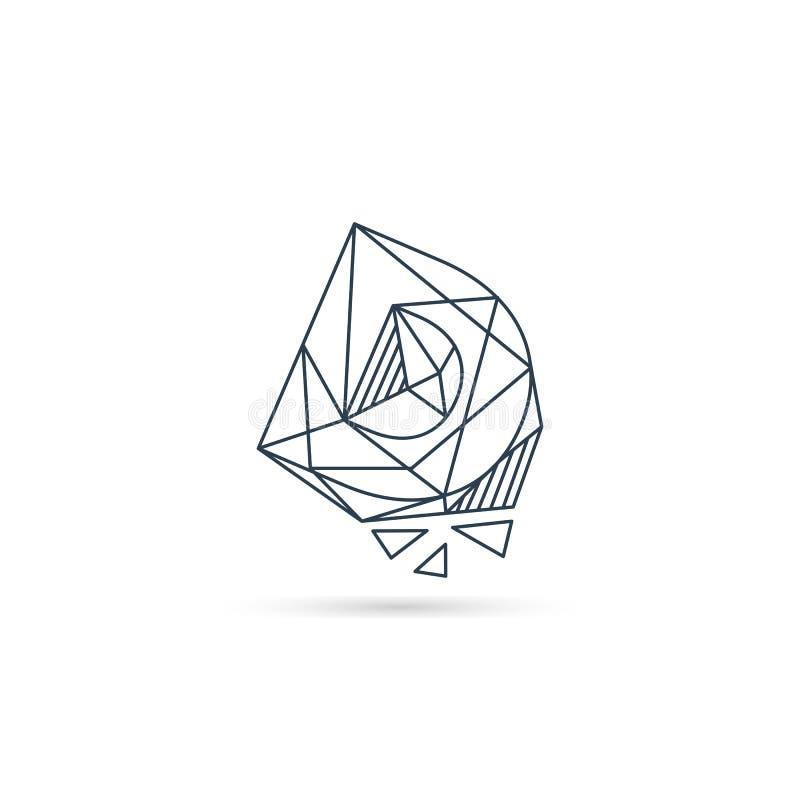 van het het embleemontwerp van D van de halfedelsteenbrief van het het pictogrammalplaatje het vector geïsoleerde element stock illustratie