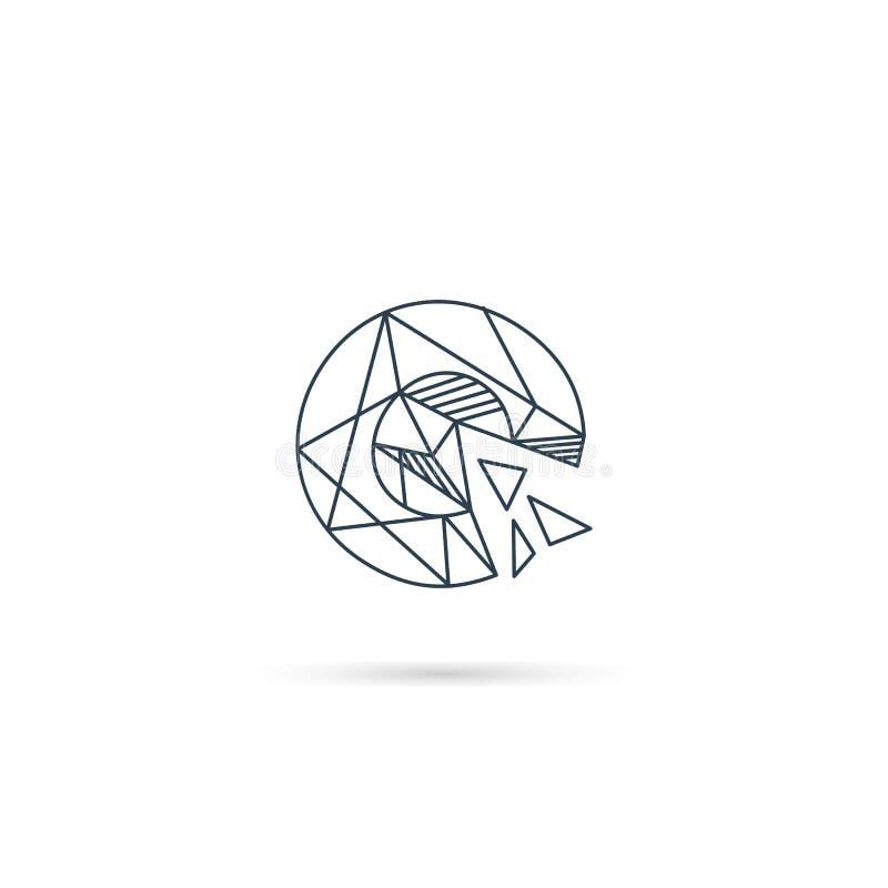 van het het embleemontwerp van de halfedelsteenbrief c van het het pictogrammalplaatje het vector geïsoleerde element royalty-vrije illustratie