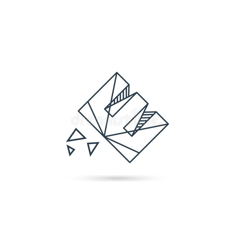 van het het embleemontwerp van de halfedelsteenbrief e van het het pictogrammalplaatje het vector geïsoleerde element vector illustratie