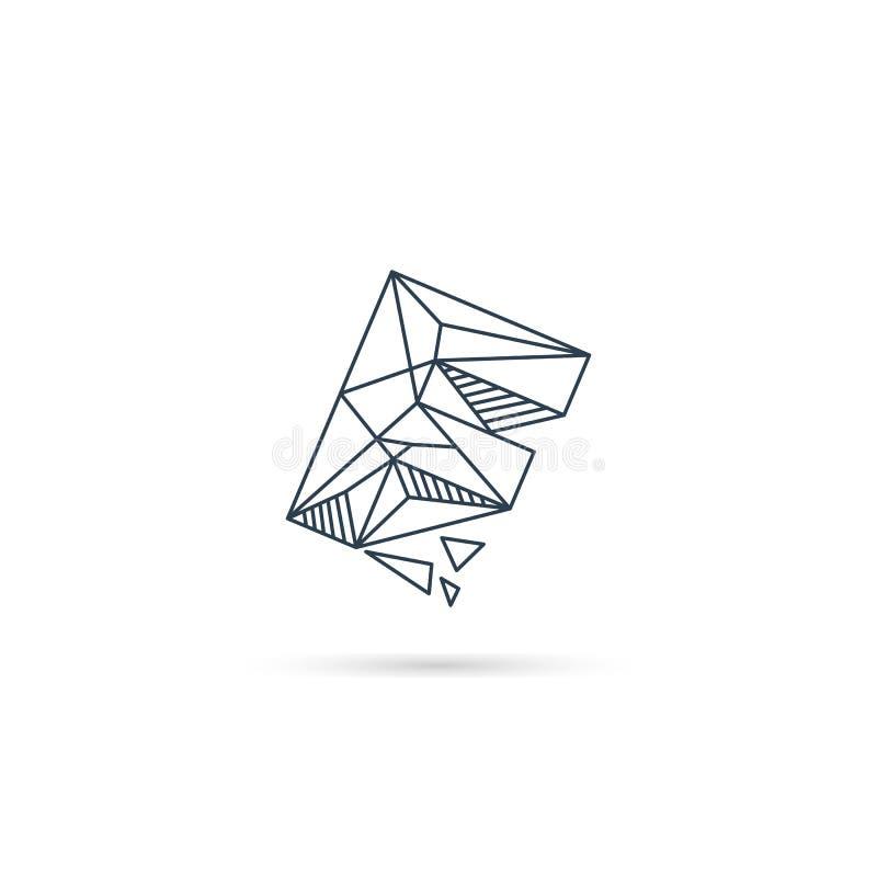 van het het embleemontwerp van de halfedelsteenbrief F van het het pictogrammalplaatje het vector geïsoleerde element royalty-vrije illustratie