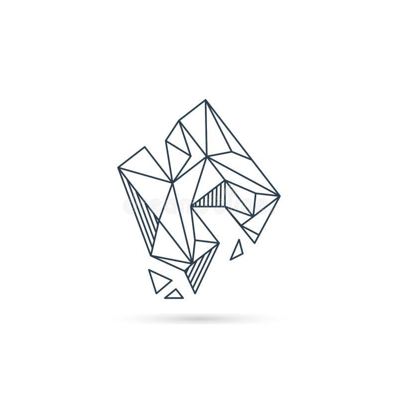 van het het embleemontwerp van de halfedelsteenbrief h van het het pictogrammalplaatje het vector geïsoleerde element stock illustratie
