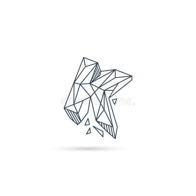 van het het embleemontwerp van de halfedelsteenbrief k van het het pictogrammalplaatje het vector geïsoleerde element stock illustratie