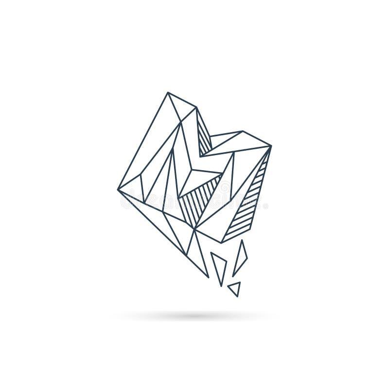 van het het embleemontwerp van de halfedelsteenbrief m van het het pictogrammalplaatje het vector geïsoleerde element stock illustratie
