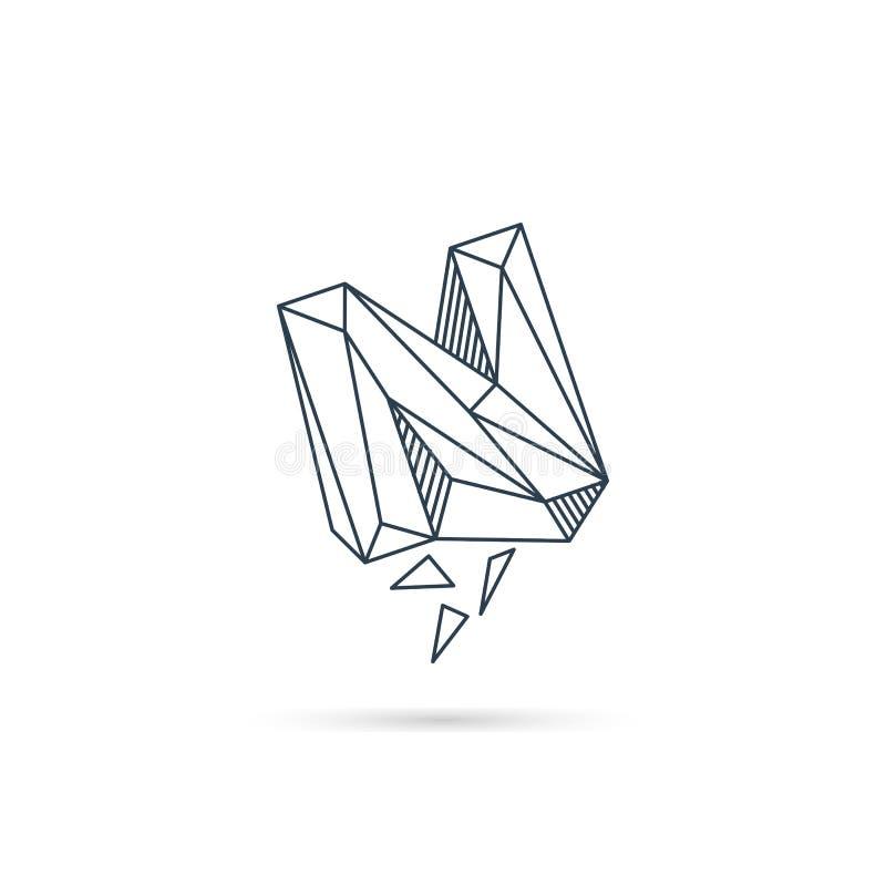 van het het embleemontwerp van de halfedelsteenbrief n van het het pictogrammalplaatje het vector geïsoleerde element royalty-vrije illustratie