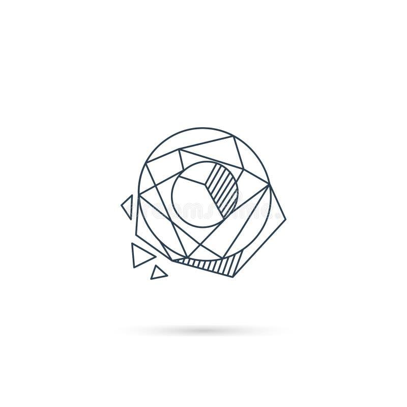 van het het embleemontwerp van de halfedelsteenbrief o van het het pictogrammalplaatje het vector geïsoleerde element vector illustratie