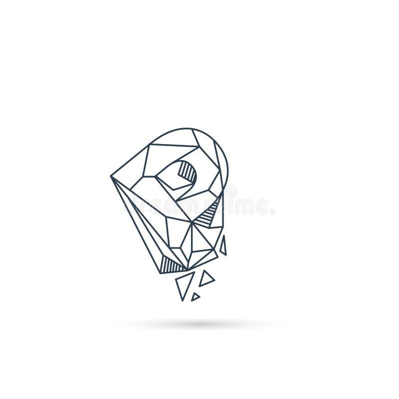 van het het embleemontwerp van de halfedelsteenbrief p van het het pictogrammalplaatje het vector geïsoleerde element royalty-vrije illustratie